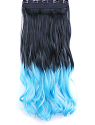 Black and Blue Length 60CM Synthetic Gradient Five Card Hair Long Straight Hair Wig(Color BLACKTTURQUOISE)