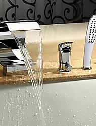 PHASAT Bathtub Faucet - Contemporary - Waterfall / Sidespray - Stainless Steel (Chrome)