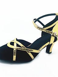 Scarpe da ballo-Personalizzabile-Da donna-Balli latino-americani-Tacco a rocchetto-Finta pelle-Nero