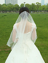 Wedding Veil Two-tier Fingertip Veils Pencil Edge Tulle White