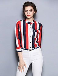 Women's Work Simple Summer Shirt,Striped Crew Neck Long Sleeve Red Silk Thin
