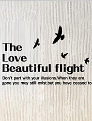 Diy Wall Art 60*23Cm Medium Pvc The Love Beautiful Flight Letters One Piece Wall Sticker
