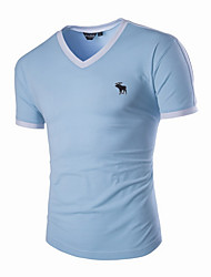 New Hot Fashion Men's V-Neck Short Sleeve T-Shirt Slim Basic Tee Top Multicolor