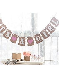 IT'S A GIRL with Pink Hearts Baby Shower Banner Bunting Birthday Party Garlands Decorations