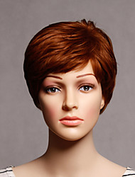 Capless Short Synthetic Brown Color Straight Synthetic Womens Wigs