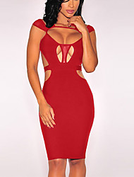 Women's Sexy Solid Bodycon Dress,Strap Knee-length Polyester