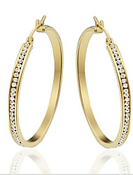 Earring Oval Jewelry Women Fashion Party / Daily / Casual Titanium Steel 1 pair Yellow Gold