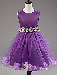 Girl's Solid Sleeveless Princess Dress,Polyester / Organza / Satin Summer Pink / Purple / Red / White Lovely Knee-length
