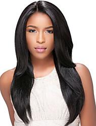 vente chaude ! longues perruques droites européennes perruques synthétiques de couleur noire