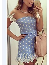 Moulante Robe Femme Sortie simple,Mosaïque Col Arrondi Mini Manches Courtes Bleu Polyester Eté Taille Haute