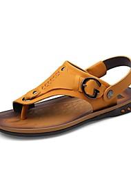 Masculino-Sandálias-Conforto-Rasteiro-Marrom-Napa Leather-Ar-Livre / Casual