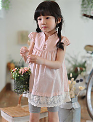 Girl's Blue / Pink Blouse,Patchwork Cotton Summer