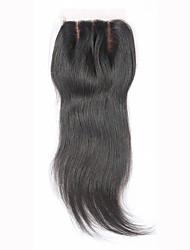 8 12 14 16 18 20inch Натуральный чёрный (#1В) Изготовлено вручную Прямые Человеческие волосы закрытие Умеренно-коричневыйШвейцарское