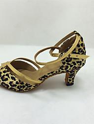 женские танцевальной обуви латинские / бальных сатин расклешенные каблук 7.5cm каблук высота черный / синий / красный / леопард