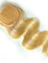 """20"""" Светлый блонд (#613) Естественные кудри Человеческие волосы закрытие Швейцарское кружево 40g/pc~60g/pc грамм Размер крышки"""