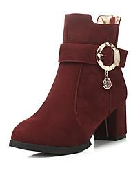 Черный / Коричневый / Красный / Бордовый-Женская обувь-Для офиса / Для праздника / На каждый день-Флис-На толстом каблуке-На каблуках / С