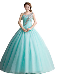 Formal Evening Dress Ball Gown One Shoulder Floor-length Tulle with Crystal Detailing