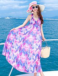 Women's Beach Sexy Loose Dress,Print Halter Maxi Sleeveless Pink Polyester Summer