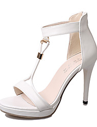 Women's Shoes PU Stiletto Heel Heels / Peep Toe Sandals Office & Career / Party & Evening / Casual Black / White