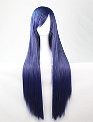 Europe And The United States The New Color Wig 80 CM Wide Navy Blue Long Straight Hair Wig