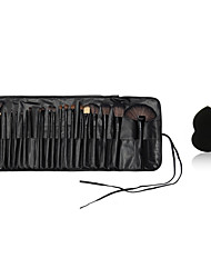 24pcs Makeup Brushes Wood Handle blush/foundation/powder/ shadow/liner brush cosmetic kit And Small Makeup Sponge