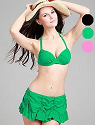 Bikini / Deux-pièces Aux femmes Volants / Couleur Pleine Licou Nylon / Spandex