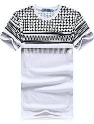 Herren T-shirt-Druck Freizeit / Sport Baumwolle Kurz-Weiß