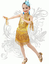 Latin Dance Children's Performance Spandex Sequins / Tassel(s) Strap Dresses