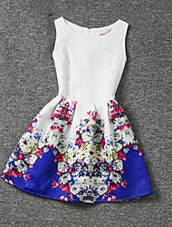 Girl's Blue / Red Dress,Print Polyester Summer