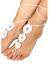anéis de mulheres crochet pulseira de algodão cadeia tornozelo flores simples descalços sandálias