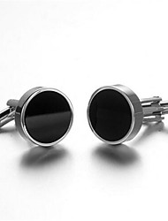Men's Fashion Black Face Silver Alloy French Shirt Cufflinks (1-Pair) Christmas Gifts