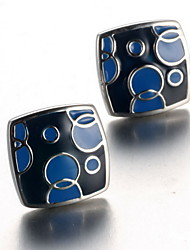 Men's Fashion Blue Print Silver Alloy French Shirt Cufflinks (1-Pair)