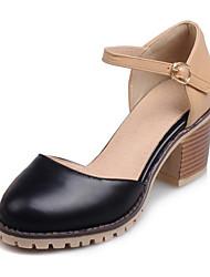 Zapatos de mujer-Tacón Robusto-Tacones-Tacones-Boda / Exterior / Vestido / Casual-Semicuero-Negro / Rosa / Blanco / Beige