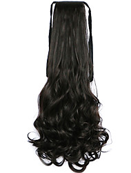 Black-Brown Water Wave Long Curly Hair Wig Style Pony Tail Bandage Ponytails