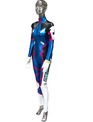 Inspired by Overwatch D.Va Video Game Cosplay Costumes Cosplay Suits Print Blue Long Sleeve Leotard / Bracelet