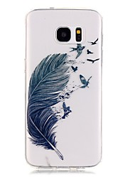 tpu haute pureté ajouré translucide motif de plume étui de téléphone souple pour galaxie s5 / S6 / S6 bord / s7 / s7 bord
