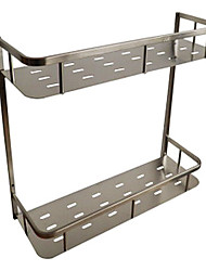 The bathroom brushed stainless steel double wall rack