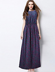 Women's Vintage / Boho Floral Casual Large Size Classic Pleated Sheath Dress,Round Neck Maxi