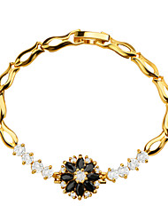 Flowers Luxury Crystal Vintage Jewelry High Quality 18k Gold Plated Cubic Zirconia Bracelet Women Jewelry Gifts B40177