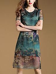 Women's Vintage Print Sheath Dress,V Neck Knee-length Silk