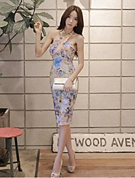 Women's Simple Floral Bodycon Dress,Halter Knee-length Silk / Polyester