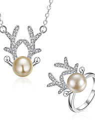 Imitation Pearl / Silver Plated Jewelry Set Necklace/Ring Wedding / Party / Daily / Casual 2pcs