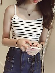 Women's Striped White / Black Vest,Street chic Sleeveless