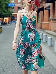 PRASE   Women's Sexy Floral Sheath Dress,Strap Knee-length Polyester