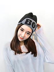 Women Casual Warm Winter Wool Knitted Letters Anti-snow Ski Hat