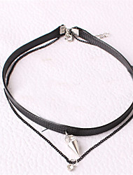 Necklace Choker Necklaces Jewelry Party / Daily / Casual Double-layer / Fashion Alloy Black 1pc Gift