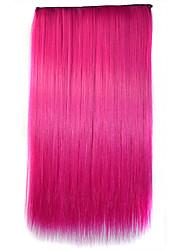 26 polegadas clipe no sintético rosa cor extensões de cabelo retas com 5 grampos