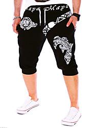 Men's Print Sport Shorts,Cotton Black / Blue / White