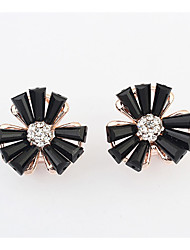 Earring Flower Jewelry Women Adorable Wedding / Party / Daily Alloy / Resin / Rhinestone 1 pair Black / Orange / Pink