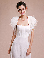 Wedding  Wraps Shrugs Sleeveless Satin Feather/Fur Ivory Wedding Party/Evening